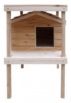Wooden Cat House with Platform & Loft by CozyCatFurniture.com, Free Shipping