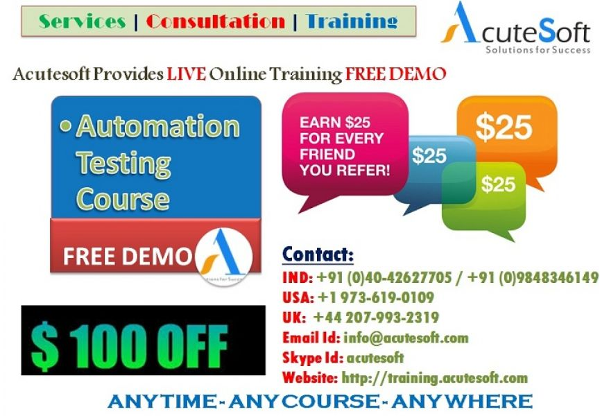 Automation Testing Online training from Industry Experts-Acutesoft
