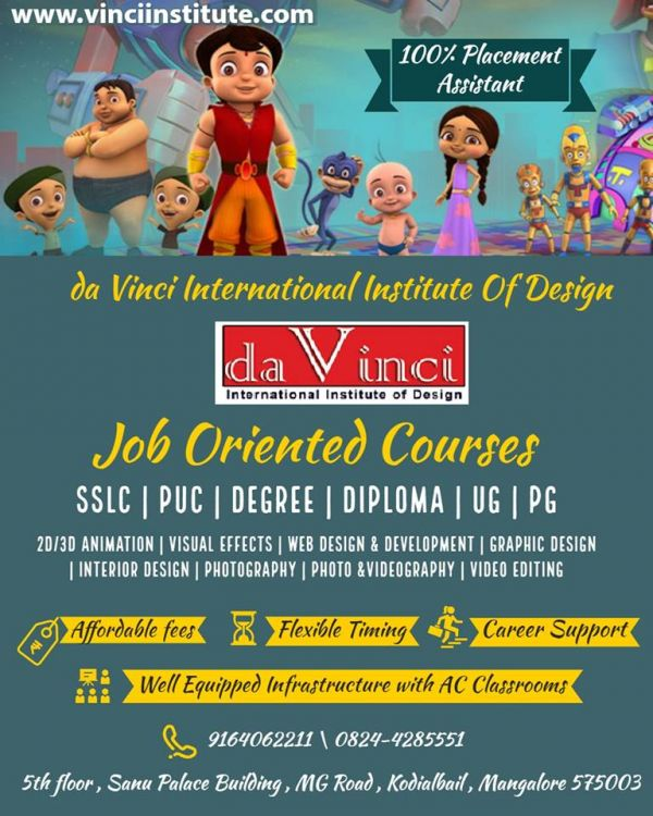 Animation interior web graphic design institute in mangalore