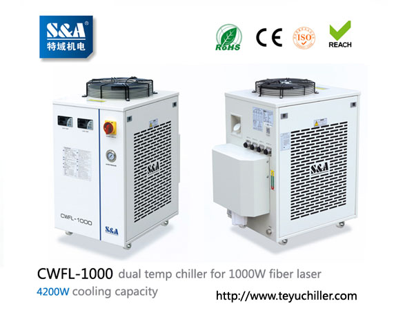 S&A chiller CWFL-1000 for cooling 1000W fiber laser cutting & engraving machine