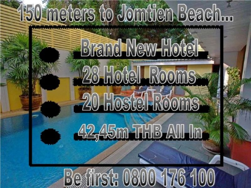 Thailand Pattaya Jomtien Brand New 28 Room Boutique Pool Hotel Sale