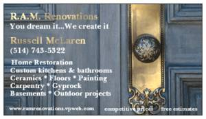 FOR QUALITY RENOVATIONS, CALL R.A.M. RENOVATIONS