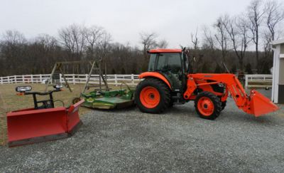 2010 Kubota M7040HDC w/ Loader, Boss V Plow and JD MX10 Mower