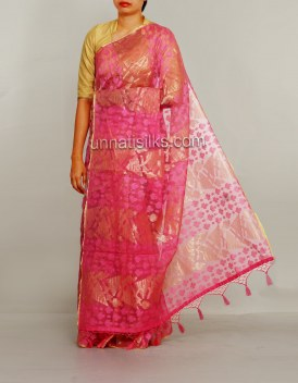 Online shopping for lovely baby pink sarees by unnatisilks