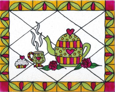 Stained Glass Style Tea Time Teapot