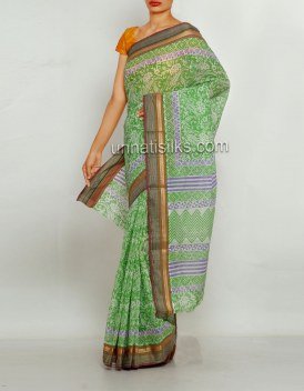 Online shopping for sankranthi special green saris by unnatisilks