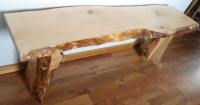 Custom Live Edge Birch Bark Slab Bench   $500