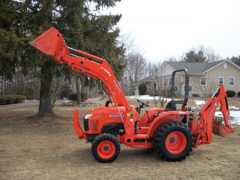2012 Kubota L3800 4WD Loader Backhoe Forks