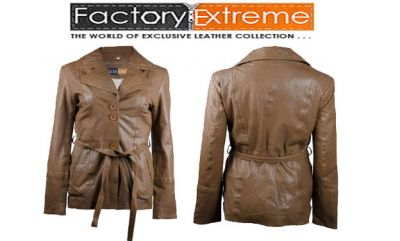 FactoryExtreme - Brown Leather Jacket