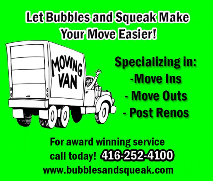 Moving? Doing Renos? Let Bubbles and Squeak Clean For You!