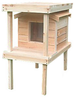 Cedar Cat House with Platform and Loft from CozyCatFurniture