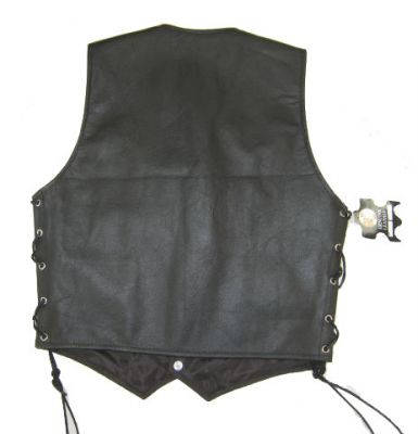 Classic Style Motorcycle Biker Vest - Authentic Leather