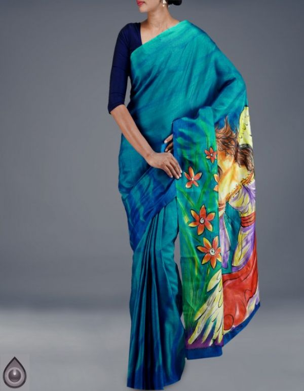 Online shopping for pure bengal dupion hand painted silk sarees by unnatisilks