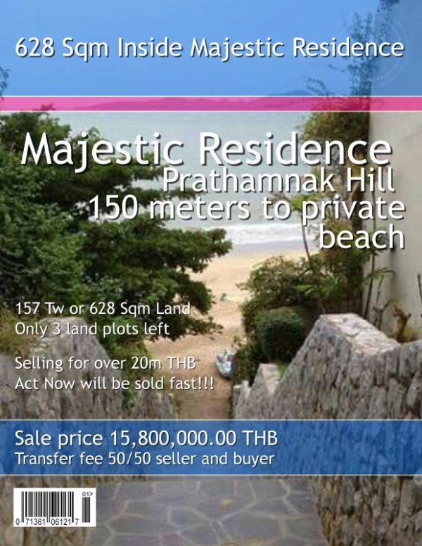 Pattaya 628 Sqm Land in Majestic Residence near Beach