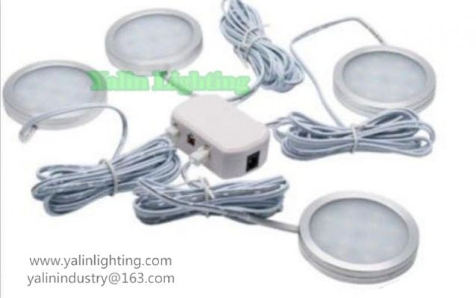 Round LED cabinet light, wardrobe disc lamp with splitter, ultrathin showroom furniture spotlight