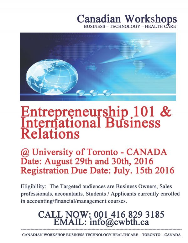Entrepreneurship 101 & International Business Relations Workshop - Toronto, Canada
